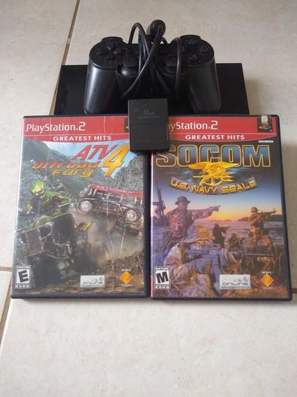 Playstation 2 Slim Bloqueado+memoricard+1 Controle+2 Jogos