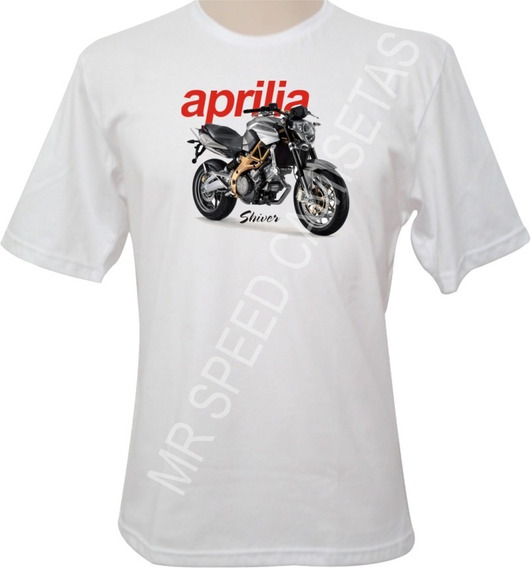 Camiseta Motocicleta Aprilia Shiver Cinza