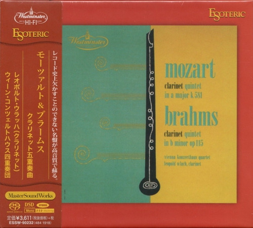 Imagen 1 de 4 de Disco Sacd Cd Mozart  Brahms - Clarinet Esoteric Series