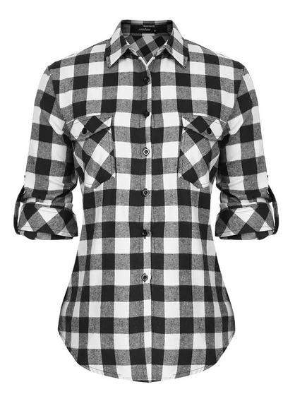 Camisas Entalladas Cuadros Mujer- Escocesa - Premium