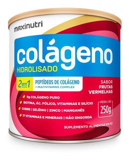 Colágeno Hidrolisado 2 Em 1 Frutas Vermelhas 250g - Maxinutr