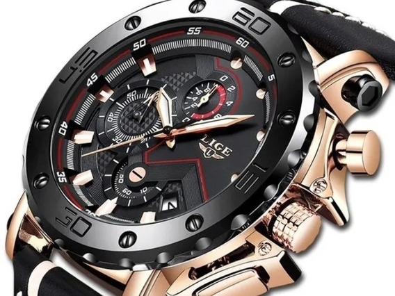 Relógio Masculino Luxo Pulseira De Couro Super Oferta