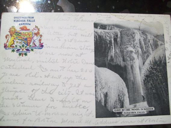 Antigua 1903 Cataratas Niagara Congeladas Con Estampilla