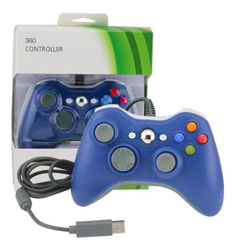 Joystick Mando Control Con Cable Xbox 360 Compatible Azul