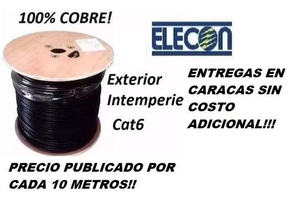 Cable Utp Cctv Cat6 Por 10metros 100%cobre Intemperie Elecon