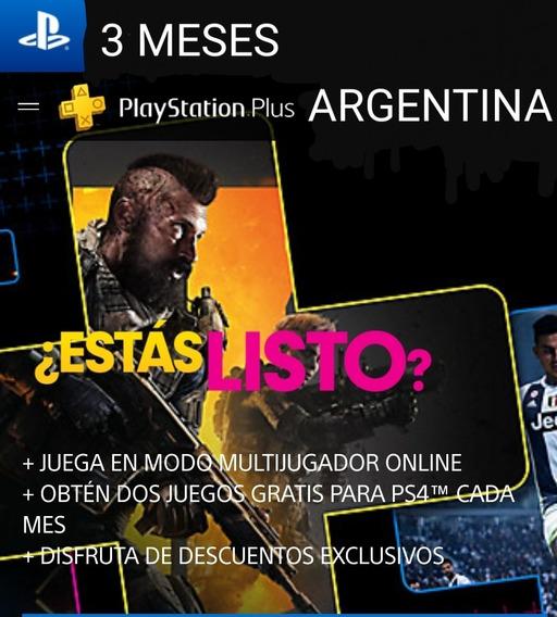 Codigo Playstation Plus Argentina - Ps4 - 3 Meses -inmediato