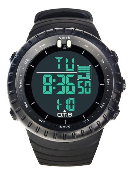 Relógio Masculino Digital Militar Ots Esportivo Preto Prova D