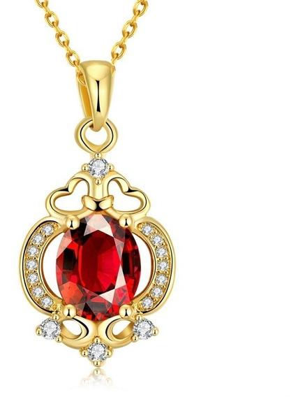 Colar Feminino Folheado Ouro + Zircônia Vermelha Alto Brilho