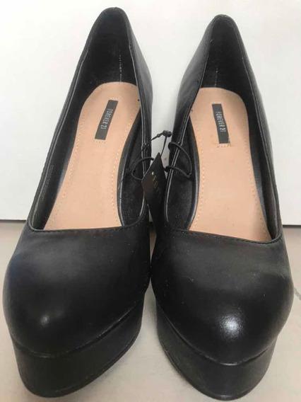 Zapatos Stilettos Ecocuero Negro Taco 13cm Forever T 7,5 Us