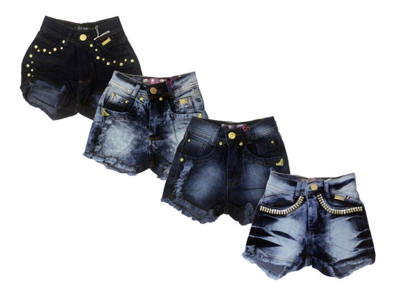 Kit 4 Short Jeans Infantil Meninas Feminino Tamanhos 6 A 14