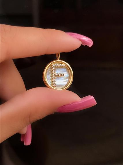 Colar Letra Inicial Zircônia E Madreperola Banhado Ouro 24k