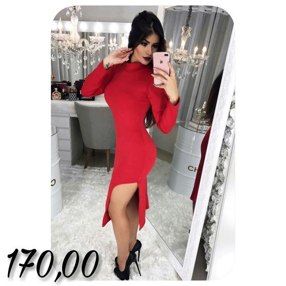 Vestido Vermelho De Gola Com Fenda