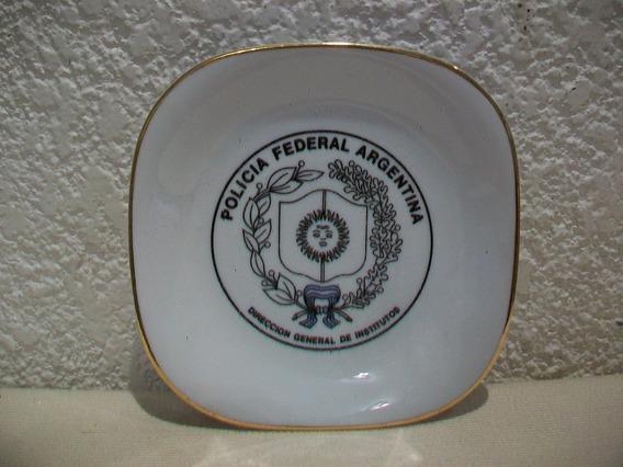 Plato De Porcelana Verbano Policia Federal Argentina - 13 Cm