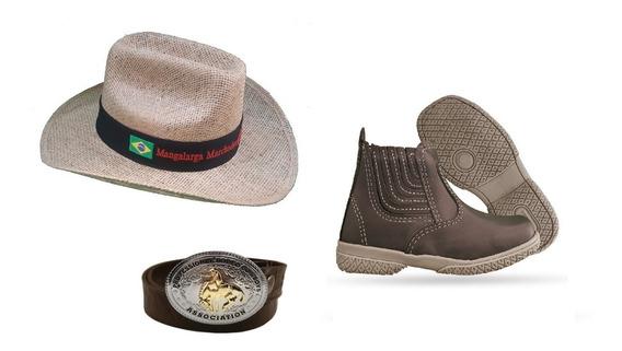 Kit Cowboy Infantil Botina + Chapéu + Cinto De Couro Fivela