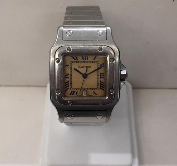 Reloj Cartier Caballero Cuarzo Fechador Cristal Café