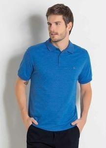Camisa Polo Actual Em Piquet Azul