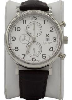 Reloj Hombre Election Suizo Cuero Y Cronografo E130415211