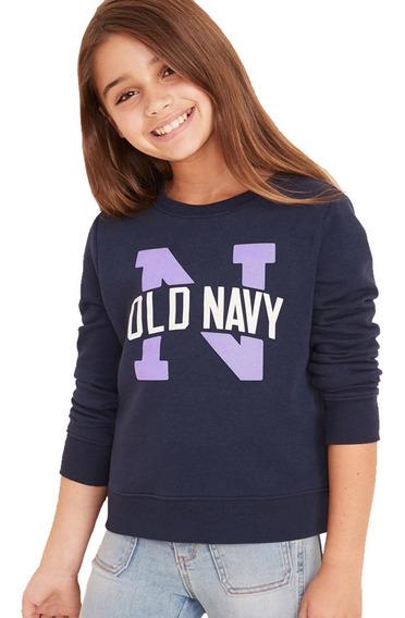 Sudadera Niña Cerrada Cuello Redondo Estampada Old Navy