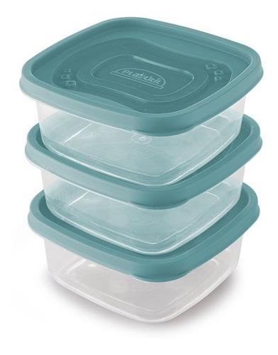 Conjunto De Potes De Plástico Quadrados 580 Ml Clic 3 Uni