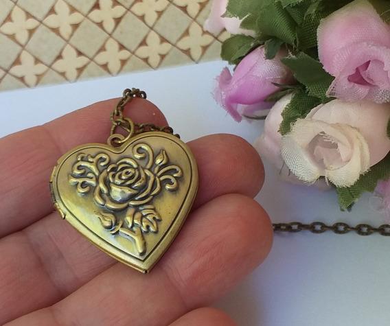 Colar Relicário Medalhão Flor Em Relevo Para Mini Foto R 49