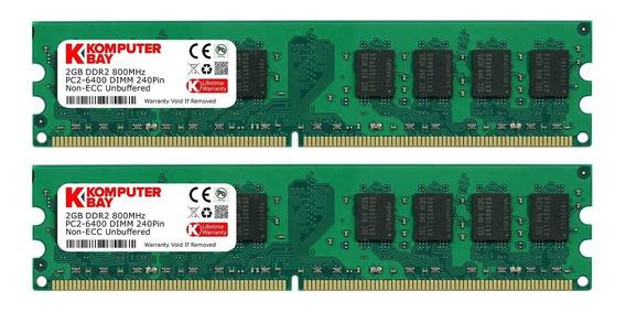 Memoria Ram 4gb Komputerbay 2 X 2gb Ddr2 800mhz Pc2-6300 Pc2-6400 Ddr2 800 (240 Pin) Dimm