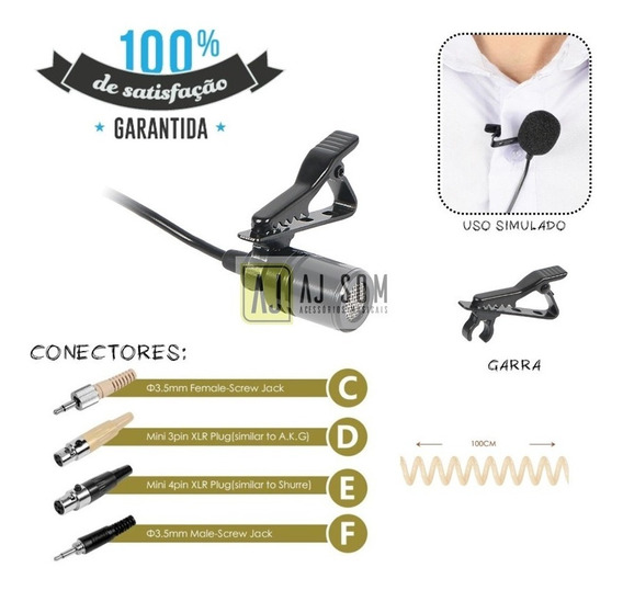 Microfone Lapela P/body Pack,câmera,dslr..sony,rode,akg,csr