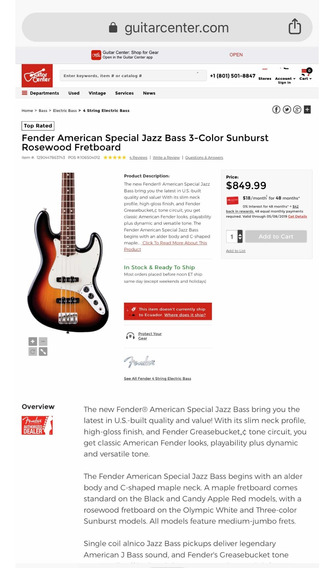 Fender American Special Jazz Bass Black Strings + Stand