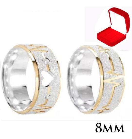 Alianças Compromisso Prata Namoro Coração Vazado Ouro 8mm