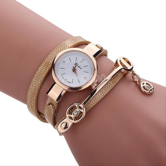 Relógios Feminino Pulseira Couro Retro Vintage Todas Cores
