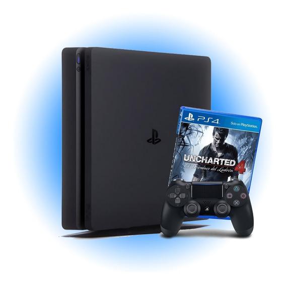 Playstation Ps4 Slim 500gb + Uncharted 4 Garantia De 1 Ano
