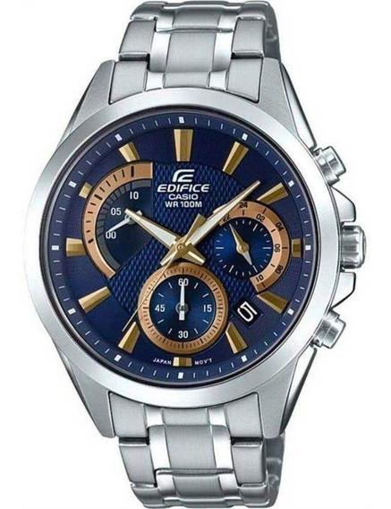 Relógio Casio Edifice Efv-580d-2av Analógico Mostrador Azul