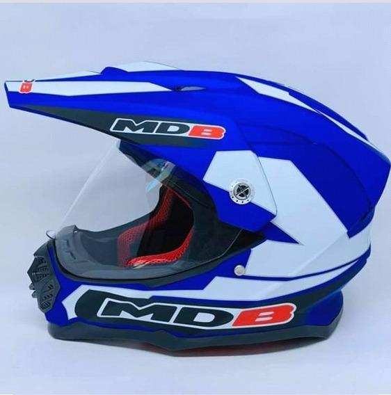 Capacete Para Moto Cross Azul Fosco