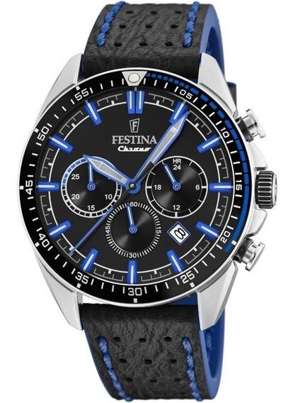 Relógio Festina Chronograph Couro Preto E Azul F20377/3