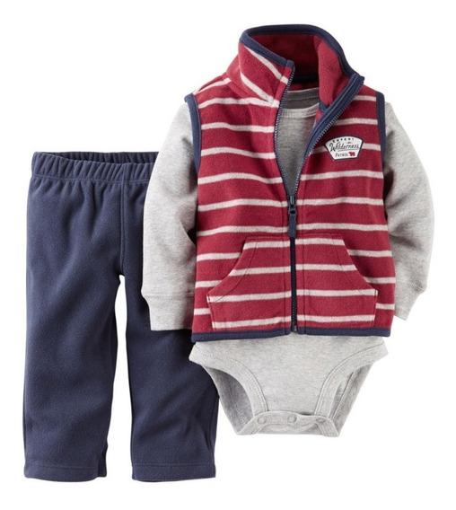Carters Set 3 Piezas Chaleco Pantalon Micropolar Bebe Nene