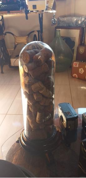 Redoma De Vidro Antigo Com Rolhas Linda Peça Coleção