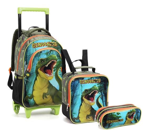 Kit Mochila Rodinhas Infantil Masculino Dinossauro Rex Top