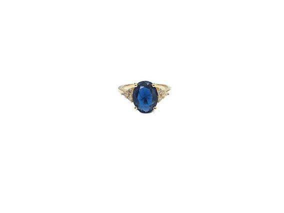 Anel Solitário Cristal Azul Com Micro Zircônias