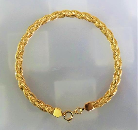 Pulseira Folheada A Ouro Trançada 3 Fios 5mm 19,5cm 125801
