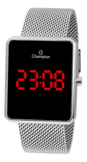 Relógio Champion Feminino Ch40080t Digital Quadrado Prata