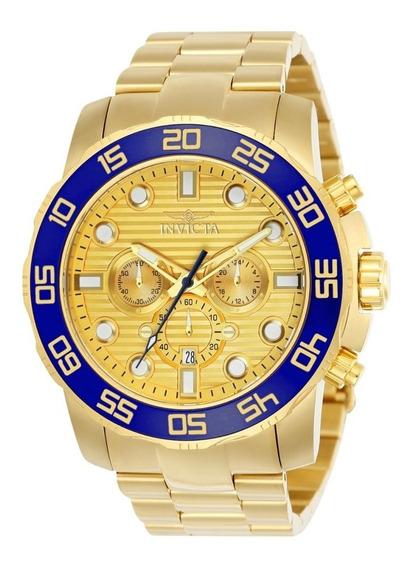 Relógio Invicta Pro Diver 22227 Original Banhado A Ouro 18k