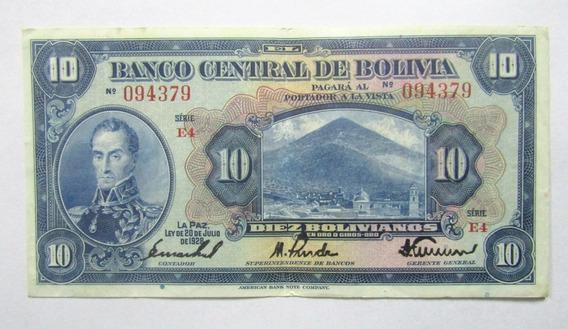 Bolivia Billete 10 Bolivianos Año 1928 Pick 121 Vf