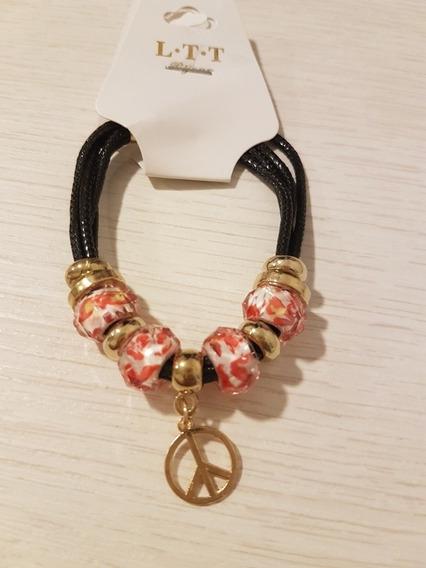 Pulseira Inspirada Pandora Berloques Símbolo Hippie Paz Amor