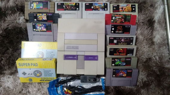 Console Super Nintendo Completo Video Game Snes Modelo 001