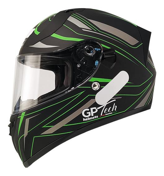 Capacete Gp Tech V128 Ride Sv Viseira Solar Fosco Preto-cinza-verde