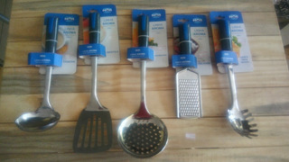 Conjunto Utensílios Para Cozinha Aroma Mor 5pcs Inox Azul