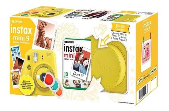 Kit Câmera Instantânea Fujifilm Instax Mini 9 Amarelo Bana
