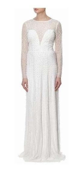 Vestido Largo Adrianna Papell Bordado Color Ivory Talla 6us