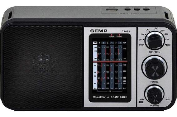 Rádio Portátil Semp Tr01b Analógico Am Fm Usb 1w Com Alça