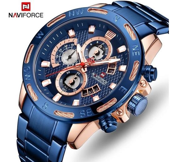 Relógio Naviforce 9165 Original Todo Funcional De Aço Inox
