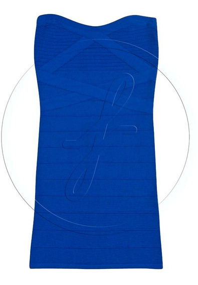 Vestido Tejido Strapless Azul Chico